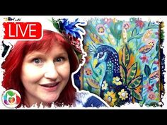Live #2 Peacock and Flowers and Flowers abstract acrylic tutorial art lesson - YouTube