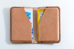 Tarjetero de cuero, estuche de cuero, porta tarjetas, cuero natural, color cuero natural