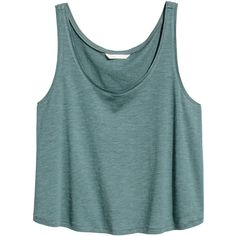 Kurzes Tanktop 5,99 ($5.99) ❤ liked on Polyvore featuring tops, blue top, h&m tops, jersey tank top, jersey top and blue jersey