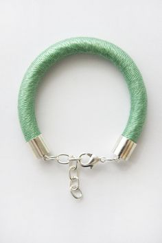Chunky Cord Bracelet Wrapped with Mercerised Cotton  Mint
