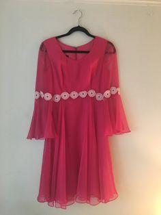 Magenta 60s Chiffon Dress Floral Detail Sheer by encasedinvelvet