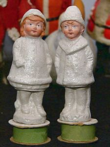 Antique German Snow Baby Couple Candy Containers