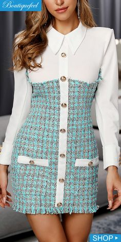 Turn-down Collar Long Sleeve Buttoned Plaid Insert Bodycon Dress 80s Fashion, Korean Fashion, Fashion Dresses, Classy Fashion, French Fashion, Hijab Fashion, Style Fashion, Classy Outfits, Chic Outfits