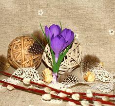 """Купить """"Весенние крокусы"""" Брошь-бутоньерка - фиолетовый, фоамиран, заколка с цветами, заколка-цветок"""