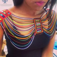 Very cute look African Attire, African Wear, African Dress, African Beads Necklace, African Jewelry, African Print Fashion, African Fashion Dresses, African Accessories, Fabric Necklace