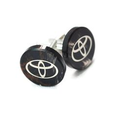 Toyota sign cuff links, damask print on the obsidian, gift box included, nice texture stone, gift for men, birthday gift, car logo cuff link