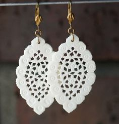these earrings are incredible!  made in india out of cow bones!  they are carved to resemble lace!  a must have;) #noondaystyle