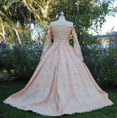 Corseted back!    Custom Off Shoulder Antoinette Victorian Style Wedding Gown Your color/size. $845.00, via Etsy.