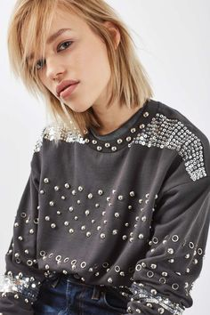 Standout Stud Sweat - Tops - Clothing - Topshop