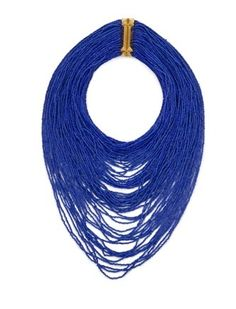 "BCBG MAXAZRIA    BLUE DEPTH SEED-BEAD NECKLACE    Luxurious intrigue reigns supreme when you add this bold beaded necklace to casual looks.  Multi-layered seed-bead necklace.  Magnetic clasp with pyramid-stud trim.  Measures approximately 17.75""L x 2.5""W.  Glass, Zinc Alloy."