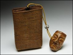 Beautiful! Japanese Anqitue Hand-Weaved Inro or Wallet with Wooden Netsuke Unique Home Framed Accessory - Framed?  Could go with Linen Transitional Living, Contemporary, Traditional