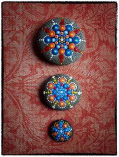 Jewel Drop Mandala Painted Stone- Beach Sand and Sun