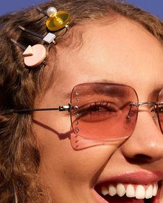 bcac3daa648 Shop ASOS Rimless Square Fashion Sunglasses With Diamonte Embellishment In  Pink at ASOS.