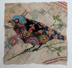 Unframed appliqued bird with embroidery on to vintage crazy quilt scrap