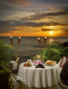 Just me and Debbie.  The Honeymoon I neve got to take her on.  Romantic evening - 'Dinner Under The Stars' at Napili Kai, Maui, Hawaii.