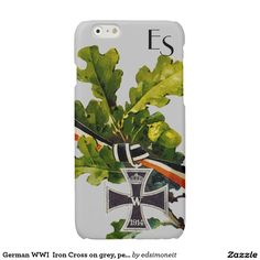 German WWI  Iron Cross on grey, personalized Glossy iPhone 6 Case