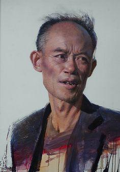 """""""Bejing Man"""" - Daniel Sprick, oil on board, 2013 {figurative realism art male head Asian man face portrait painting #loveart} danielsprick.com"""