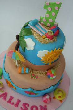 Top LAYER  beachy party themed cakes   Beach Cake