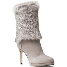 Michael Michael Kors Faye Rabbit Fur and Suede Mid Calf High Heel... ($170) ❤ liked on Polyvore featuring shoes, boots, footwear, heels, pearl gray, suede heel boots, grey heeled boots, high heeled footwear, heeled boots and high heel shoes