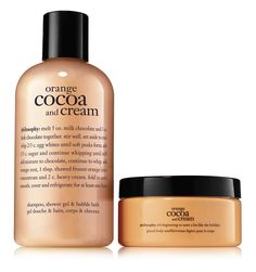 philosophy, orange cocoa and cream duo Philosophy Products, Purity Made Simple, Glo Up, Orange Zest, Skin Makeup, Shower Gel, Body Care, Bath And Body, Cocoa