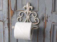 Chic-Antique-portapapel-higienico-metal-Antik-blanco-Shabby-vintage-lirio-Bad
