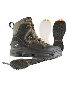 Korkers Bomber Fly Fishing Wading Boot w/ Felt & Kling-On Outsoles, Size Aloe/Black