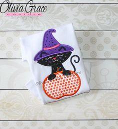 Girls Halloween Shirt, Girls Witch  Cat Shirt, Cute Black Cat Shirt, Girls…