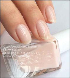 Essie Gel Couture in Fairy Tailor – sheer nude pink Essie Nail Polish, Uv Gel Nails, Diy Nails, Glitter Nails, Nude Nails, Gel Polish Colors, Nail Colors, Sinful Colors, Essie Gel Couture Swatches