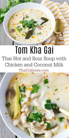 Tom Kha Gai - Thai Caliente Food Blog #thairecipes #tomkha