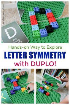 Letter Symmetry with Duplo - Happy Tot Shelf Symmetry Activities, Kids Learning Activities, Learning Letters, Alphabet Activities, Infant Activities, Motor Activities, Indoor Activities, Toddler Preschool, Preschool Crafts