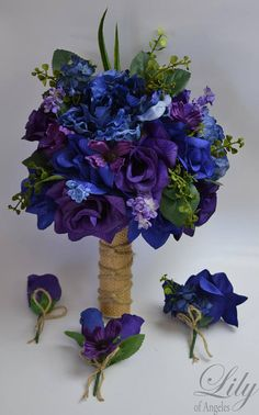 bridesmaid bouquets Cant find what you need? Visit our Etsy store to see our complete collection: ---- Model You are buying a 17 piece package including: 1 Bride's round bo Bridal Bouquet Blue, Peony Bouquet Wedding, Silk Flower Bouquets, Prom Flowers, Purple Wedding Flowers, Purple Roses, Silk Flowers, Blue Peonies, Peacock Wedding Colors