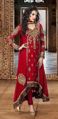 $118.82 Red Embroidered Faux Georgette Long Anarkali Salwar Suit 25854