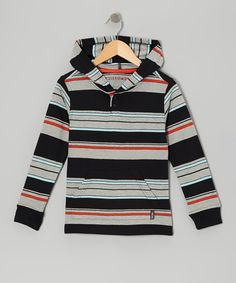 Look at this Micros Heather Gray & Black Stripe Hoodie - Boys on #zulily today!