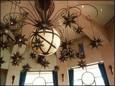 Star Chandelier - love the metal stars Twinkle Star, Twinkle Twinkle, Star Chandelier, Ceiling Fan, Ceiling Lights, Hot House, Metal Stars, Stars And Moon, Home Interior Design