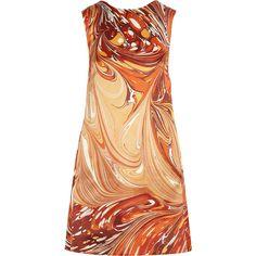 Stella McCartney Barton marble-print silk-satin cocoon dress found on Polyvore