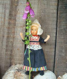 Norwegian Vintage Doll Antique Female Doll in Folk by OLaLaVintage, $20.00