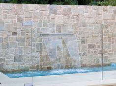 Eco Outdoor Clancy random ashlar used as pool feature wall sandstone Sandstone Cladding, Sandstone Wall, Outdoor Stone, Indoor Outdoor, Outdoor Living, Outdoor Ideas, Stone Feature Wall, Feature Walls, Rustic Outdoor Spaces