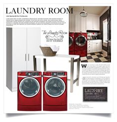 """""""Laundry Room 2146"""" by boxthoughts ❤ liked on Polyvore featuring interior, interiors, interior design, home, home decor, interior decorating, Prepac, Aurelle Home and GE"""