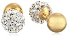 14k Yellow Gold and Crystal Ball-Back Reversible Stud Earrings $36.87
