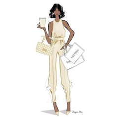 Vanilla Latte and Valentino Megan Hess Illustration, Woman Illustration, Fashion Model Sketch, Fashion Sketches, Fashion Illustrations, Black Girl Fashion, Fashion Art, Womens Fashion, Fashion Shoes