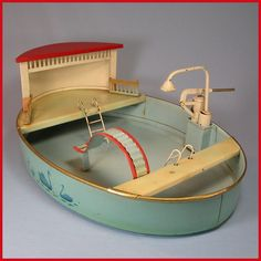 Deluxe German Painted Tin Oval Toy Swimming Pool with Hand Pump, Shower and Slide by Kibri US Zone c1945 – 1955