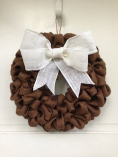 Chocolate Burlap Wreath with White Burlap Bow, Thanksgiving Decor, Autumn Decoration, Harvest Colors, Elegant Door Decor on Etsy, $40.00