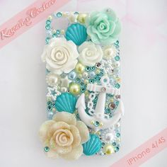 Beachy Nautical Theme iPhone 4/4S Case | $47.00 SHOP: www.etsy.com/shop/kawaiixcoutureHandmade decoden phone cases, jewelry, & accessories ♡