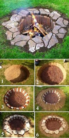 Give your garden something special for summer with a DIY fire pit. These outdoor fire pit ideas include designs for any size of garden, so get DIY-ing! Cheap Fire Pit, Diy Fire Pit, Fire Pit Backyard, Backyard Bbq, Backyard House, Sunken Fire Pits, Rustic Backyard, House Yard, House Front