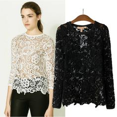 Blouse Body Blusas Freeshipping Regular 2014 New Arrival Sale Rushed Solid O-neck Hollow Out Bud Chiffon Unlined Upper Garment € Bohemian Tops, Lace Tops, Chiffon Tops, Women's Blouses, Blouse Styles, European Fashion, Ladies Dress Design, Blouses For Women, Ideias Fashion