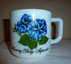 Vintage Morning Glory September Cup Mug Glasbake White Milk Glass 1960s #Glasbake