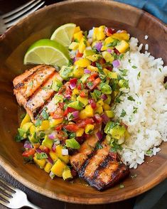 Grilled Lime Salmon with Avocado-Mango Salsa and Coconut Rice Made by @cookingclassy  . Yield: 4 servings  Ingredients  Lime Salmon 4 (6 oz) skinless salmon fillets 3 Tbsp olive oil, plus more for grill 2 tsp lime zest 3 Tbsp fresh lime juice 3 cloves garlic, crushed Salt and freshly ground black pepper, to taste Coconut Rice 1 1/2 cups Zico Coconut Water 1 1/4 cups canned coconut milk 1 1/2 cups jasmine rice, rinsed well and drained well 1/2 tsp salt Avocado-Mango Salsa 1 large mango…