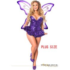 top drawer plus size premium sequin purple fairy corset dress costume ($196) ❤ liked on Polyvore featuring costumes, purple, plus size halloween costumes, wing costume, purple costume, fairy halloween costumes and sequin costume