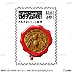 ANTIQUE HONEY BEE RED WAX SEAL STAMP