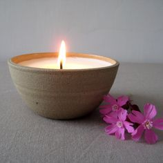 Candle Bowls, Hand thrown Stoneware Bowl with Handmade Soy Wax Candle, Votive